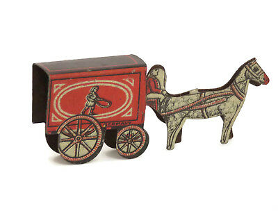 Vintage Cracker Jack tin litho horse and wagon girl with jump rope Germany 1910s