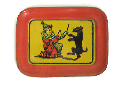Vintage Cracker Jack tin litho metal serving tray clown with dog 1910s