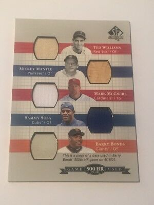 Mickey Mantle/ Ted Williams/ McGwire/Sosa/Bonds 2003 SP Authentic 500 HR 4-Relic