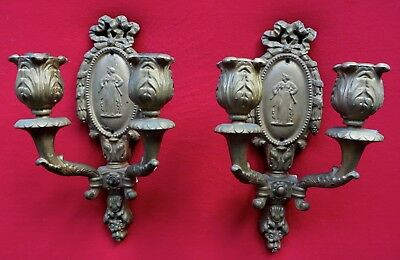 "Pair Of Gothic Antique ""Baldinger"" Double Arm Wall Sconces W / Full Woman Cameo"