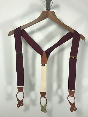 BROOKS BROTHERS All Woven Solid Maroon Suspenders Braces W/ Leather Tabs EXELENT
