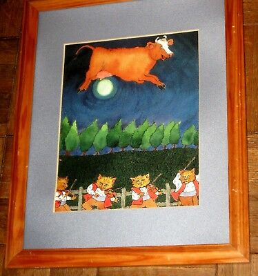 """Beautiful Kids Framed W Glass  Room Picture """"the Cow Flew Over The Moon"""""""