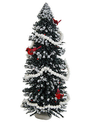 "Byers Choice New 16"" Snowy Christmas Tree Accessory w/Cardinals & Popcorn"