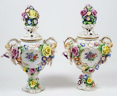 "Vintage Von Schierholz Miniature Urns 7 3/4"" Applied Flowers & Putti 1914-1930's"