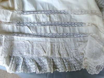 """7 Yds-12"""" & 20"""" W Antique Lace Fabric Petticoat bottom~Layers of Lace~Hand Sewn"""