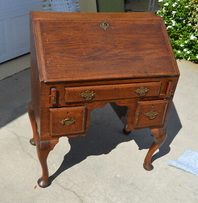 Early Oak Queen Anne Chippendale Inlay Inlaid Slant Top Antique Desk