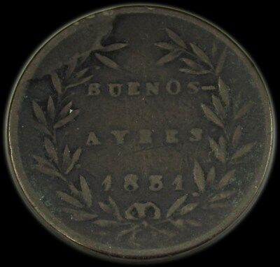 1831 Buenos Aires Argentina Copper 5/10 Real -F/VF- KM# 3 PG 52 -