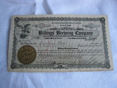 Antique 1914 Billings Brewing Company Stock Certificate *Montana Beer*