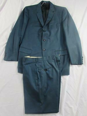 Vtg 60s Mens 2 Pc Blue Sharkskin Wool Suit Hollyood Jacket Pants Thin Lapel Mad