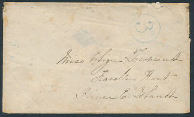 1856 Inter-Provincial Stampless Chatham NB to PEI, 3d, Backstamps