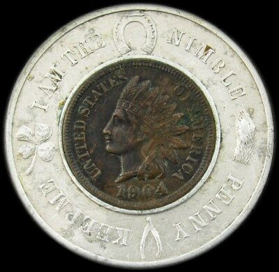 Encased 1904 Indian Head Cent -AU- Good Luck Penny from Brockton, MA