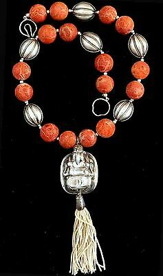 """Antique Chinese Sterling Silver and Sponge Coral Beads Necklace """"SIGNED"""""""