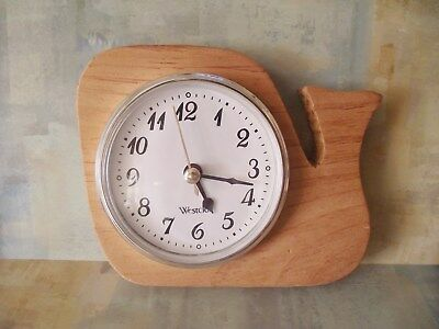 """Wooden whale design clock hand carved approx size 5 1/2"""" x 5"""""""