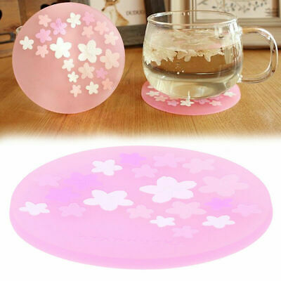 Heat Insulation Cup Mat Hollowed Cherry Blossom Coffee Tea Silicone Coaster Pad