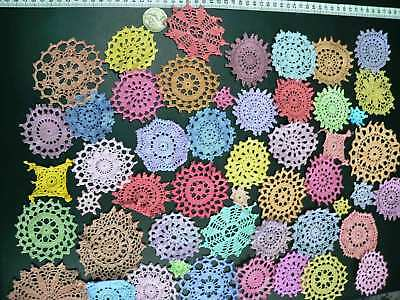 50 pc crochet motif mini doilies hand dyed rainbow colours