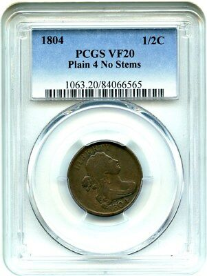 1804 1/2c PCGS VF20 - Early Half Cent Type Coin - Half Cent