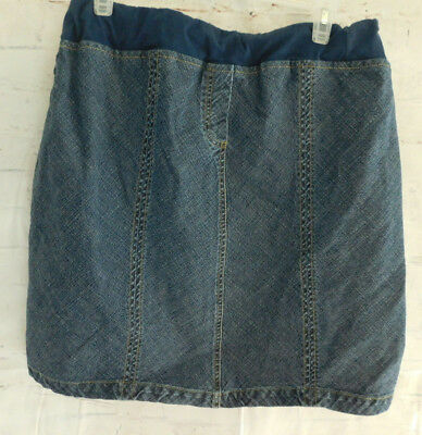 Bundle of Joy Womens Maternity Jean Skirt Size MEDIUM Blue Elastic Waist -L