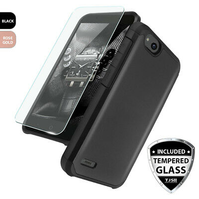 For ZTE Avid 4 Shockproof Armor Rubber Case+Tempered Glass Screen Protector