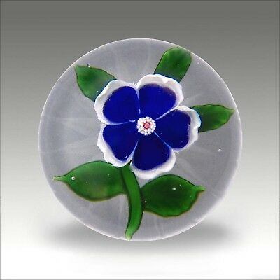 Antique Baccarat miniature blue dog rose glass paperweight / presse papiers