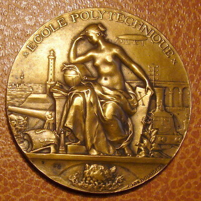 Ecole Polytechnique - Grosse Medaille Ancienne En Bronze Signee Max Bourgeois