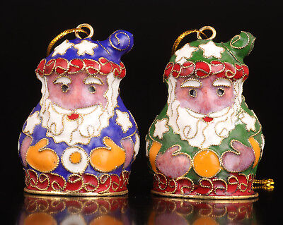 2 Cloisonne Statue Pendant Santa Claus Old Handmade Collection Value