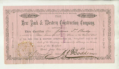 1882 New York & Western Construction Company New Jersey Stock Certificate