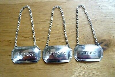 Solid Silver Set 3 English Bottle / Decanter Labels Whisky Sherry Brandy Hm.1971