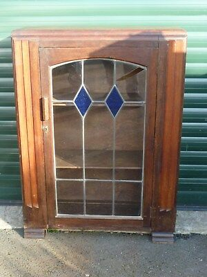 Art Deco Oak Bookcase / Cabinet With Stained & Lead Glazed Door - Shelving