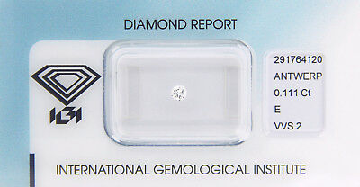 Diamant 0,111 ct E VVS 2 IGI Zertifikat  - Sealed -