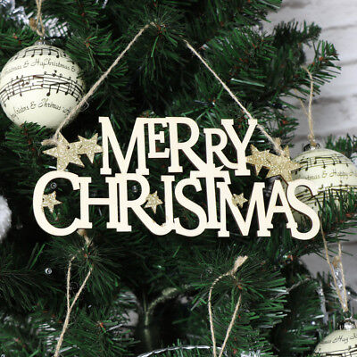 Wooden hanging Merry Christmas festive sign plaque shabby vintage chic home gift