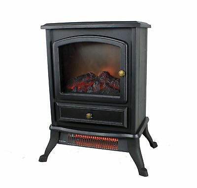 Warm Living WL-207 1000W Electric Infrared 800 Sq Ft Home Stove Fireplace, Black