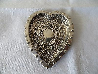 Beautiful Victorian Heart Shaped Solid Silver Pin Dish. King & Sons Chester 1896