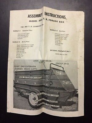 Vintage - NEW HOLLAND Assembly Instructions Model 300 F. B. Forage Box