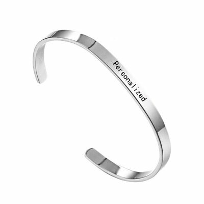 US Personalized Engraved DIY Stainless Steel Custom Name Cuff Bracelet Bangle
