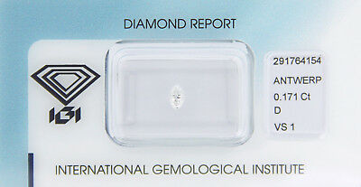 Diamant 0,171 ct D VS 1 Marquise IGI Zertifikat  - Sealed -