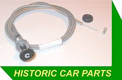 "MGBGT & MGB Roadster 1962-70 - CHOKE CABLE with ""C"" Icon, Grommet & Wire Clamp"