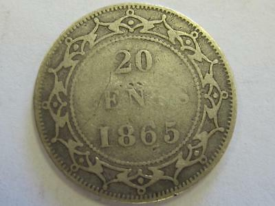 1865 Silver 20 Cents Canada Rare Coin Type Great For Book