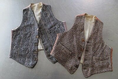 Vintage 1920s Home Made Wool Tweed Vests for Small Child Boy