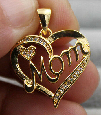 18K Yellow Gold Filled - Hollow Heart Mom Topaz Zircon Party Gems Pendant Gift