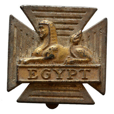 Made In Uk Vintage Egyptian Silver & Gold Plated Brooch Decorated With Sphinx