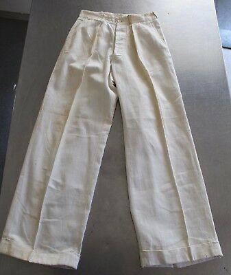 VTG 1930s Depression Era White Cotton Mens Pants Trousers Button Fly buckle back