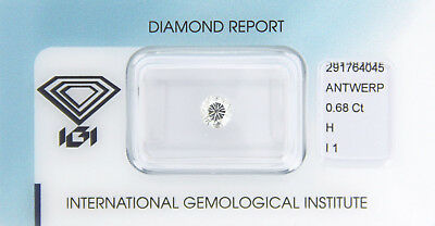 Diamant 0,68ct H I1 IGI Zertifikat - Sealed -