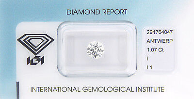 Diamant 1,07 ct I I1 IGI Zertifikat - Sealed -