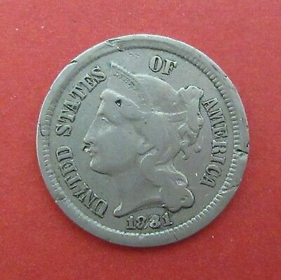 1881 Nickel Three Cent Coin~