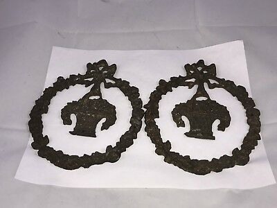 Vintage / Antique Victorian Heavy Brass Wall Decor Wreaths Bows w/ Baskets