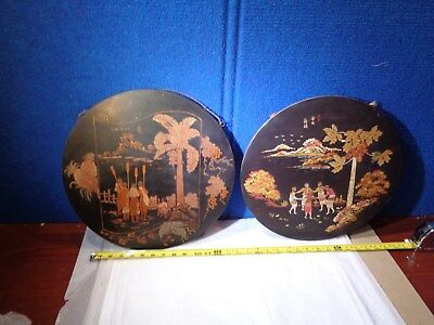 Vintage Pair of Chinese - Japanese Art  Painting on Board