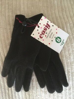 Ladies Bnwt £10 Fine,cosy, Black Button Gloves One Size Wool From Boots Gift