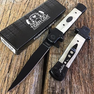 "9"" TIGER PEARL Italian Milano Stiletto Tactical Assisted Open Pocket Knife NEW B"
