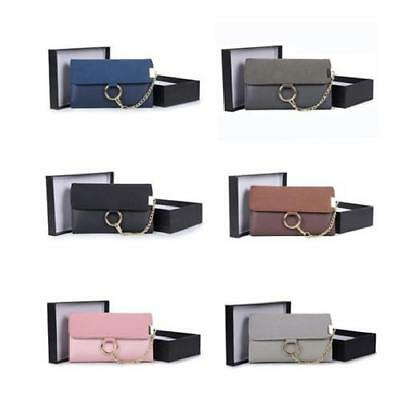 Wholesale Joblot 6 x Women Short Suede Purses with Ring Detail Chain in Gift Box