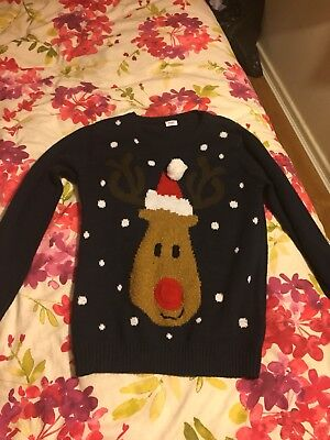 Boys Christmas Jumper Rudolph With Flashing Nose 12-13 Years